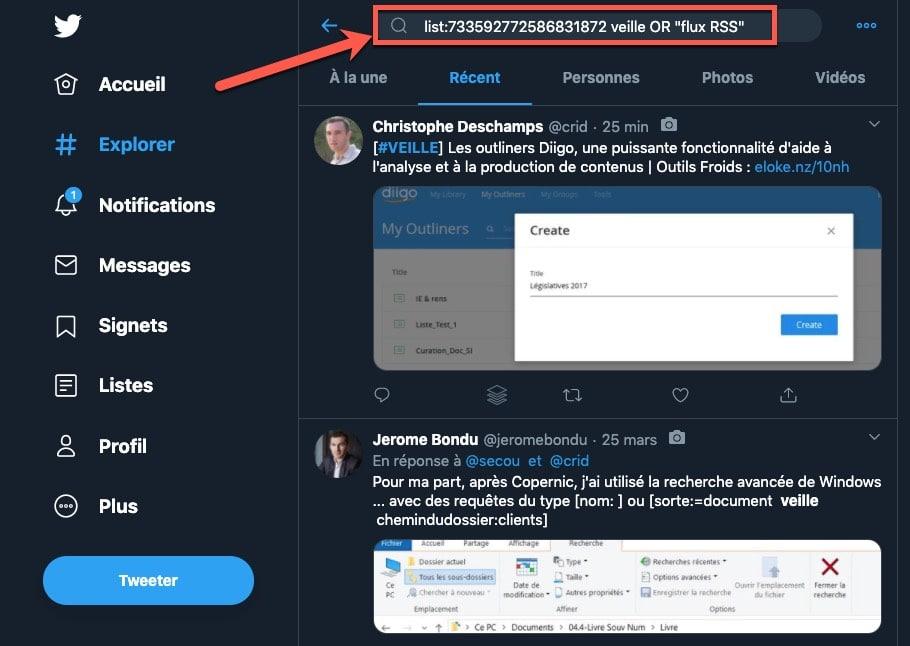 Exemple d'utilisation de l'opérateur list: pour filtrer sa veille sur Twitter
