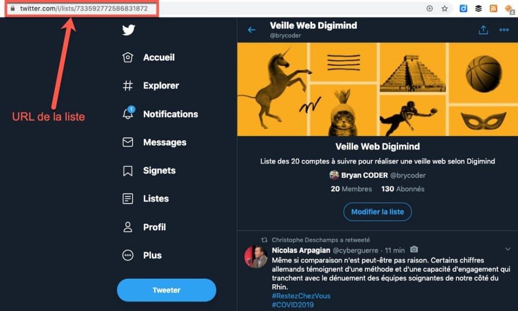 Exemple de l'adresse URL d'une liste Twitter sur la nouvelle interface de Twitter en 2020
