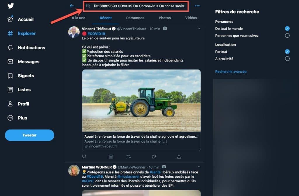 Exemple d'utilisation de l'opérateur list: pour filtrer sa veille sur Twitter : les déclarations de députés