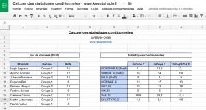 Modèle de tableur pour calculer des statistiques conditionnelles (médiane, max, min, écart-type, etc.)