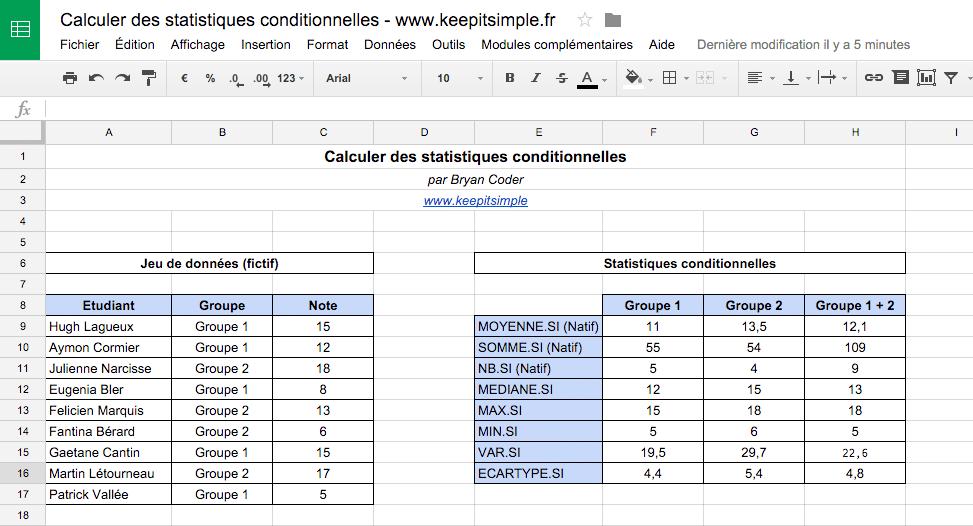 calculer des statistiques conditionnelles dans un tableur