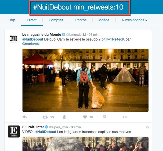 Astuce pour rechercher des tweets populaires sur un sujet