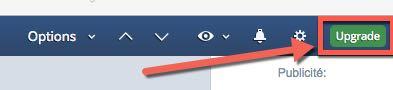 Accéder à la page upgrade pour choisir son plan d'abonnement Inoreader