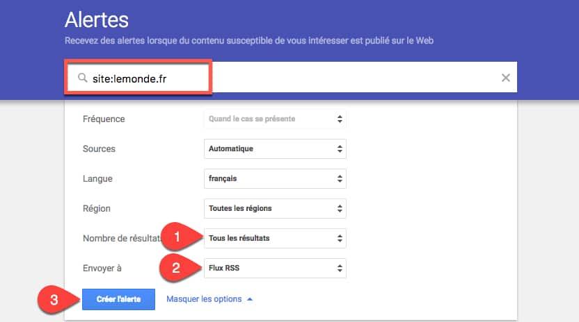 créer le flux rss d'une recherche Google via Google Alertes