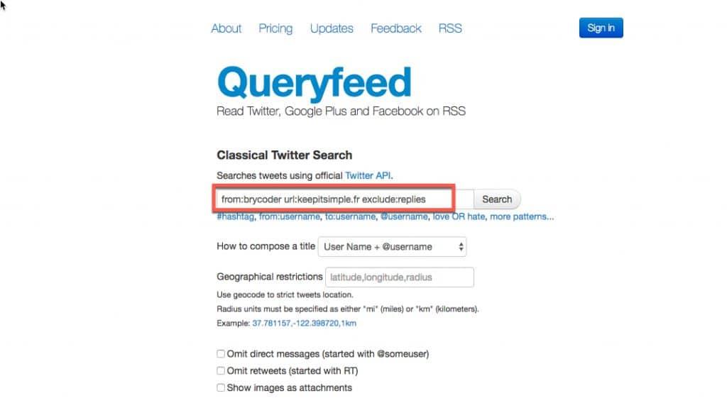 créer le flux rss d'une recherche twitter