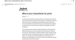 Mail envoyé par Facebook - Mise à jour importante du pixel