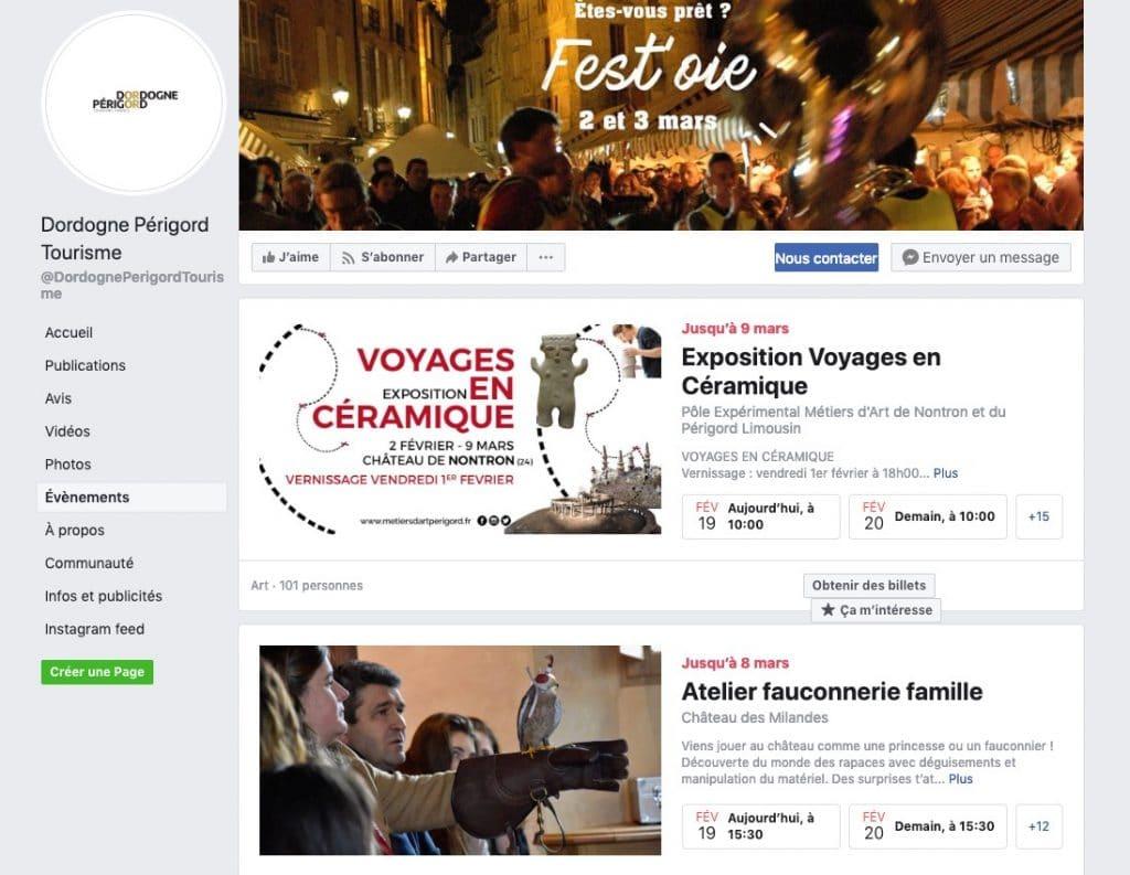 Exemple d'ajouts d'événements sur une page Facebook