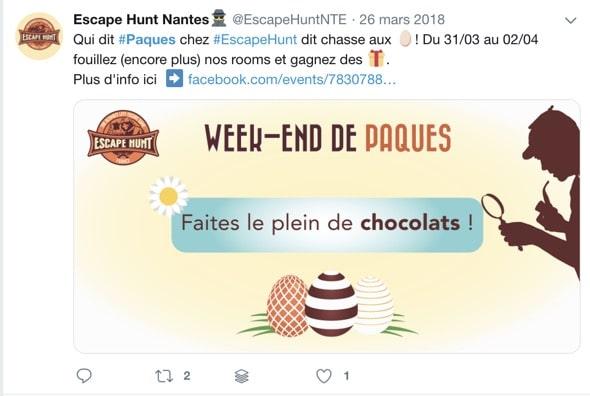 Un exemple de tweet publié sur Twitter pour annoncer un événement Facebook
