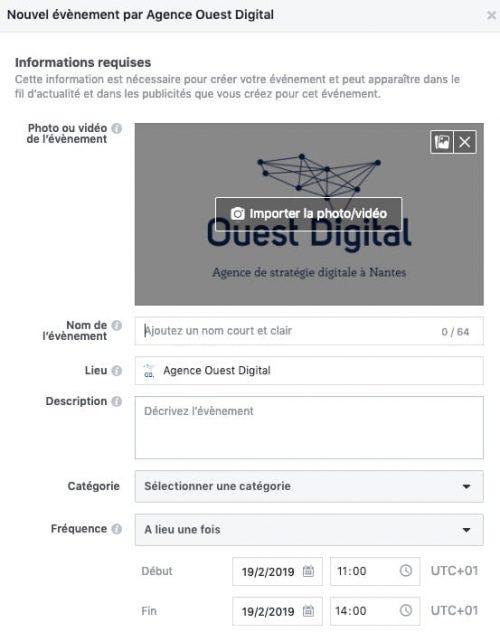 Créer un événement sur une page Facebook (étape 2)