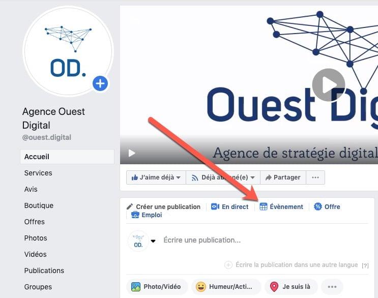 Créer un événement sur une page Facebook (étape 1)