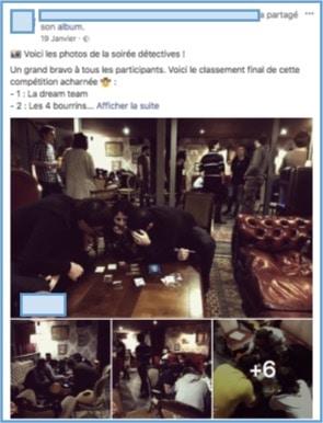 Exemple d'une publication Facebook après un événement
