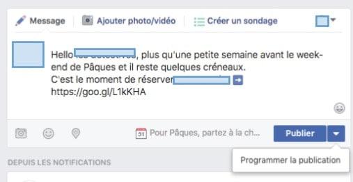 Publier ou programmer une publication dans un évènement Facebook