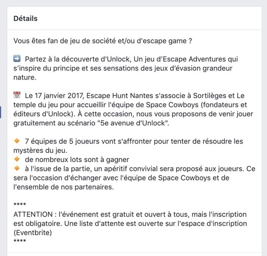 Un texte de description d'événement Facebook optimisé et lisible