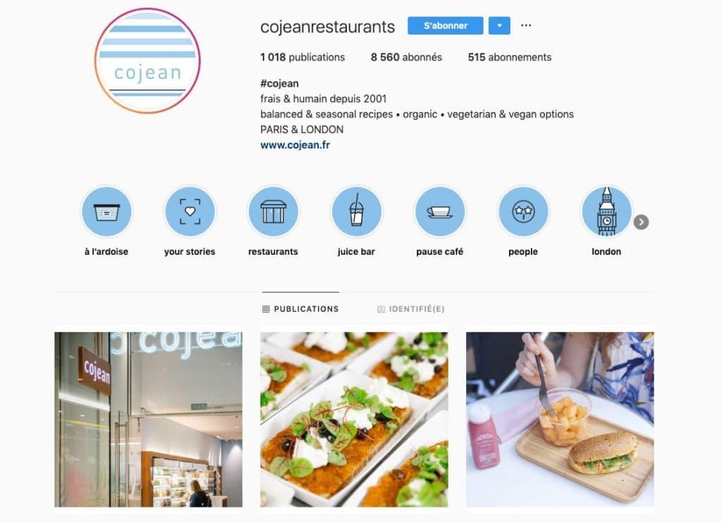 """Aperçu du profil Instagram du compte """"Cojean restaurants"""", qui travaille avec des photographes professionnels."""