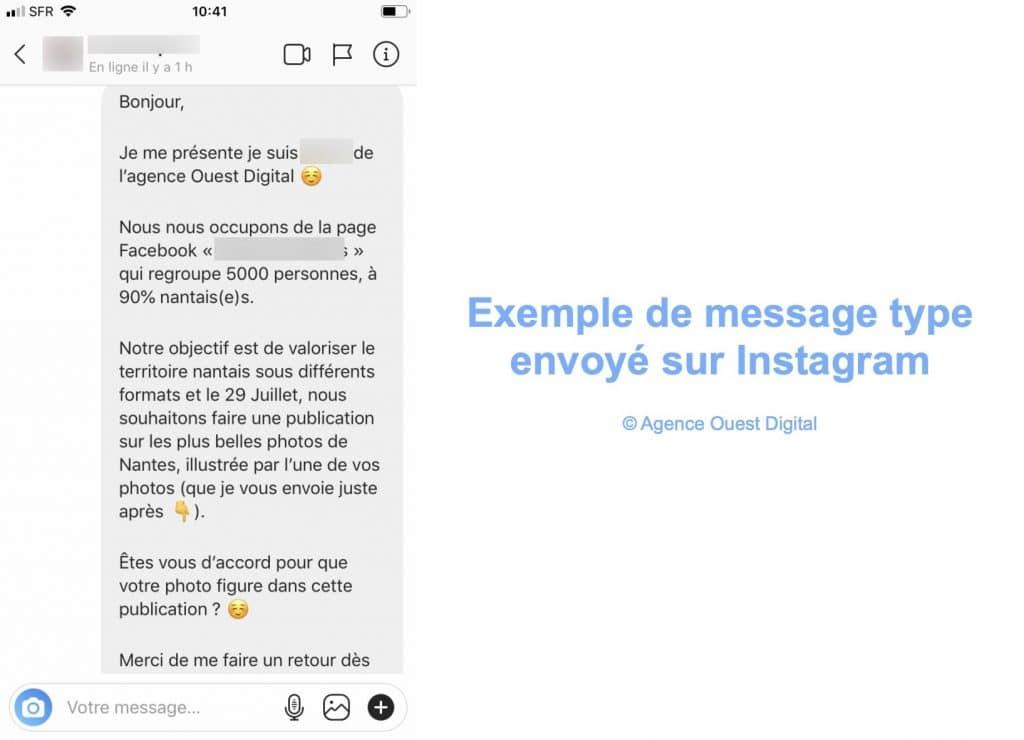 Exemple de message type envoyé sur Instagram par l'agence Ouest Digital pour demander l'accord pour utiliser des photos.