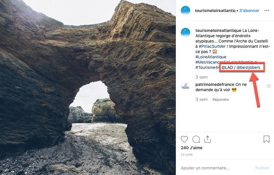 """Exemple de publication Instagram du compte """"Tourisme Loire-Atlantique"""", qui crédite le photographe de ses photos."""