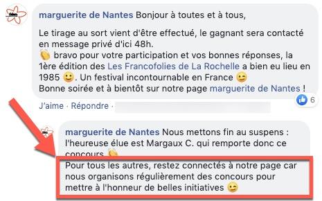 Exemple d'un commentaire de marque déposé pour annoncer le résultat d'un concours Facebook