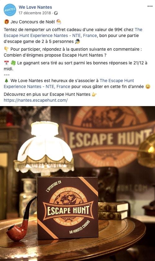 Exemple d'un jeu concours organisé en partenariat sur Facebook