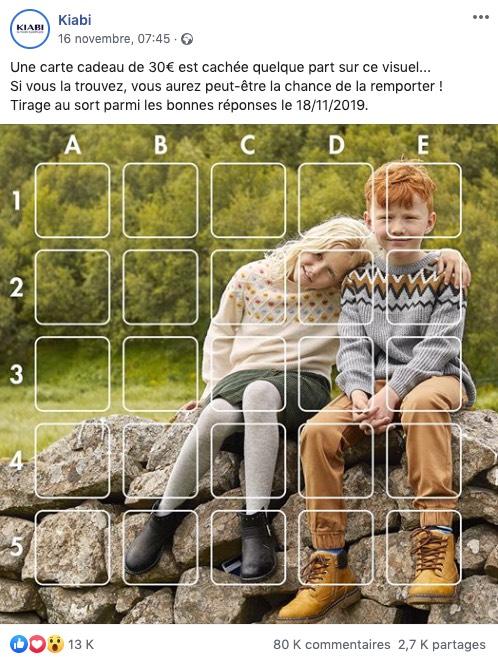 """Exemple d'un jeu concours Facebook de type """"carte cadeau cachée"""""""