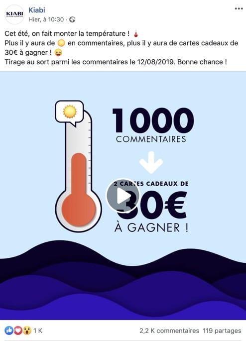"""Exemple d'un jeu concours Facebook de type """"surenchère"""""""