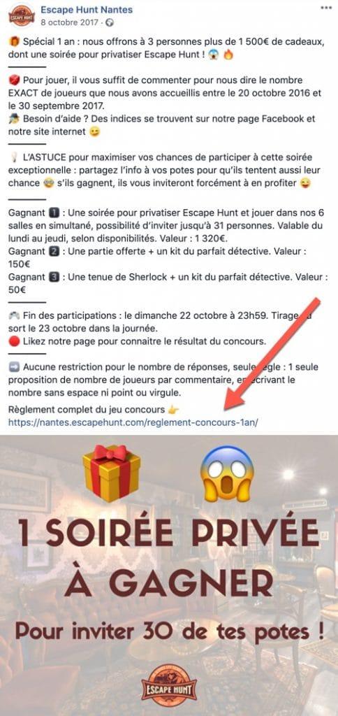 Exemple d'un jeu concours Facebook intégrant un règlement