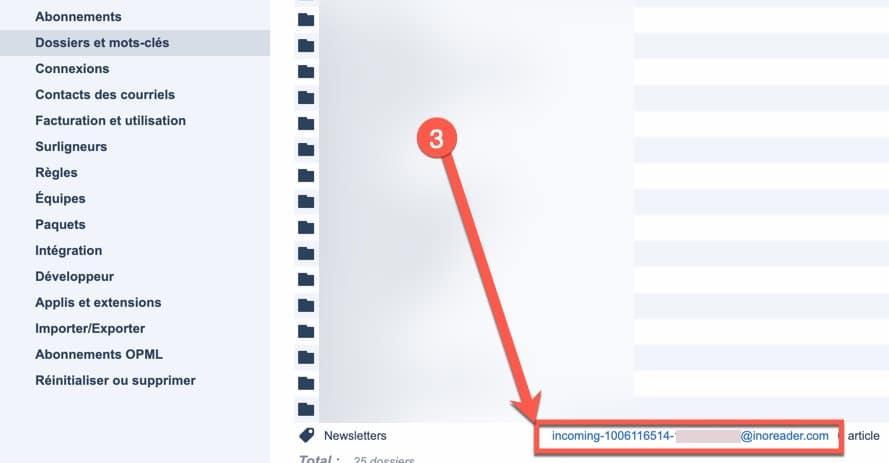 Etape 2 pour recevoir des newsletters ou des emails dans Inoreader via les mots-clés