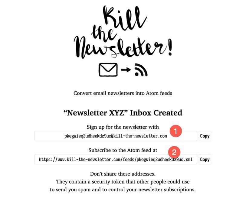 Etape 2 pour utiliser l'outil Kill The Newsletter