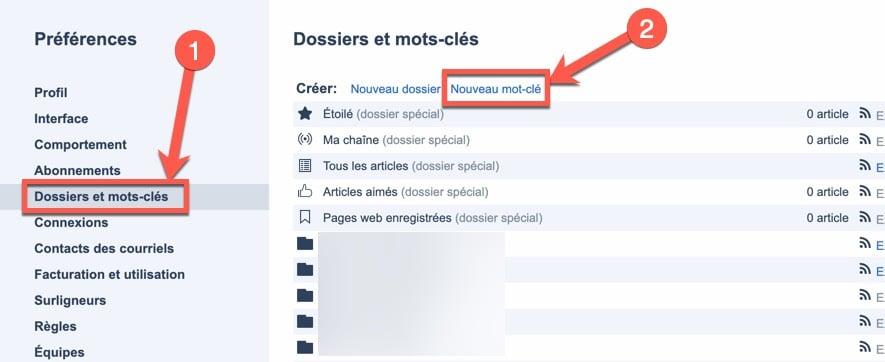 Etape 1 pour recevoir des newsletters ou des emails dans Inoreader via les mots-clés
