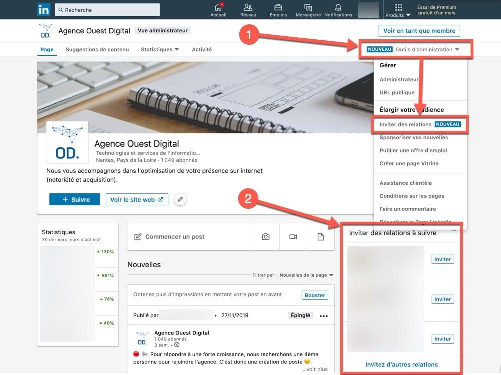 Etape 1 - comment inviter ses contacts Linkedin à suivre sa page entreprise ?