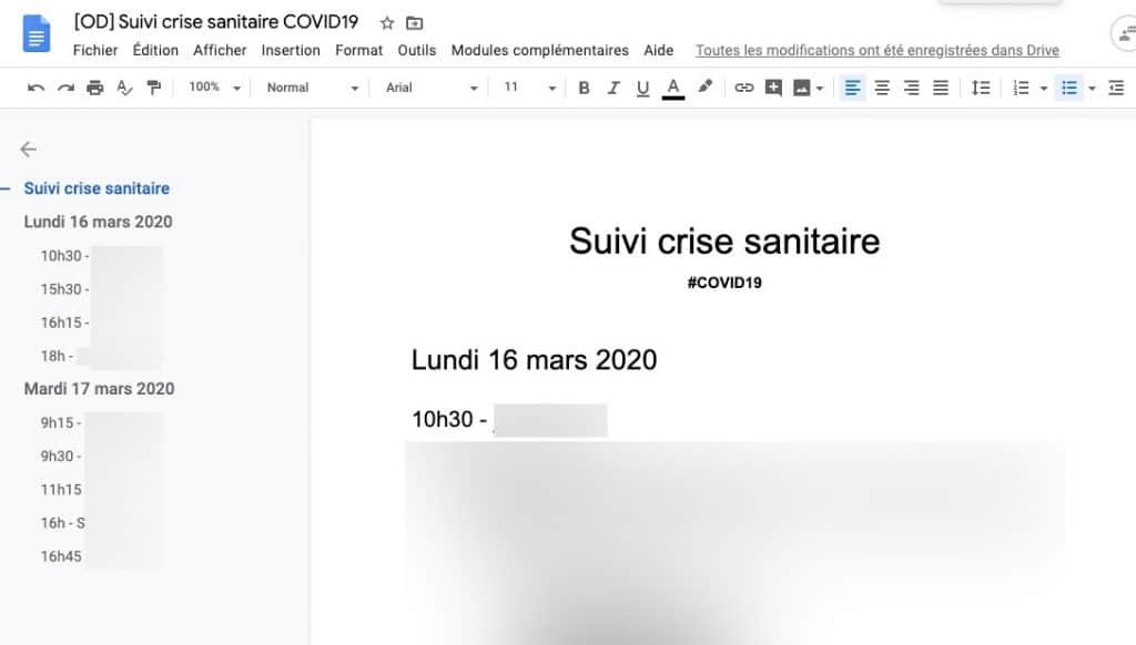Exemple de document de suivi de crise - Agence Ouest Digital