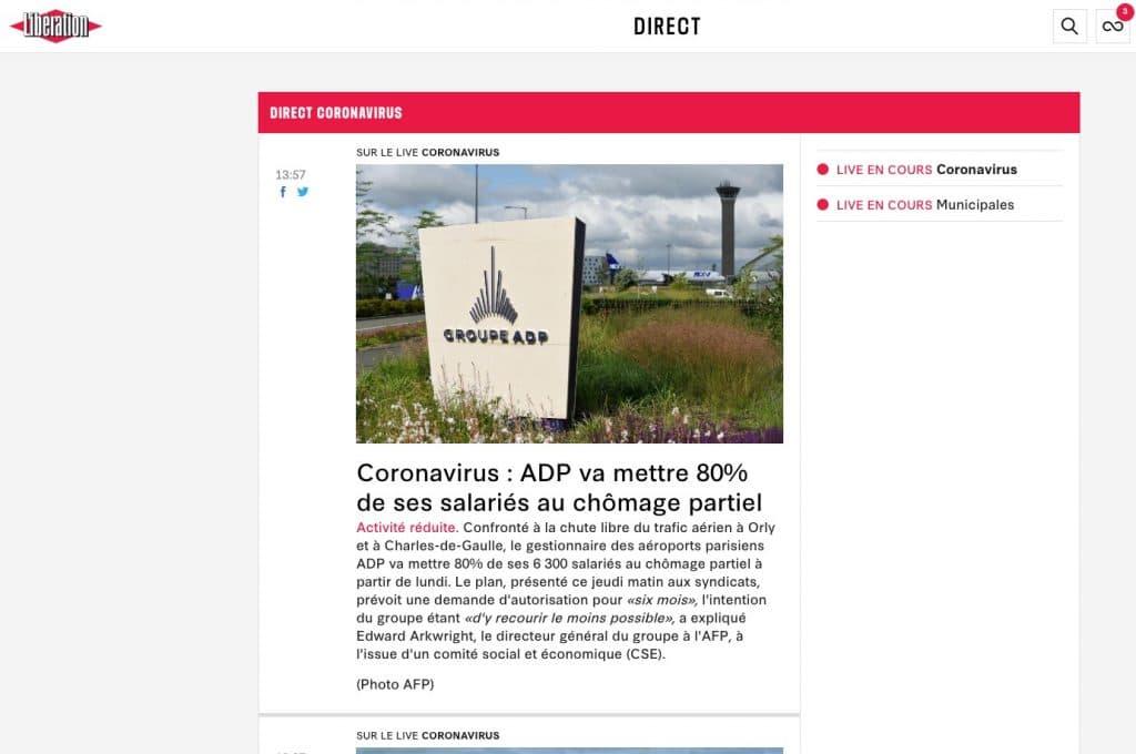 Exemple du live réalisé par Libération pour suivre l'information sur une seule page du coronavirus