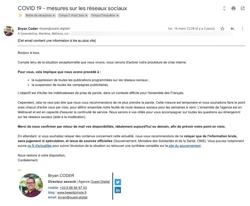 Exemple de mail clients indiquant la mise en place de la procédure de crise - Agence Ouest Digital