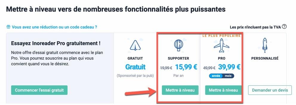 Différents plans d'abonnement pour utiliser Inoreader en version payante
