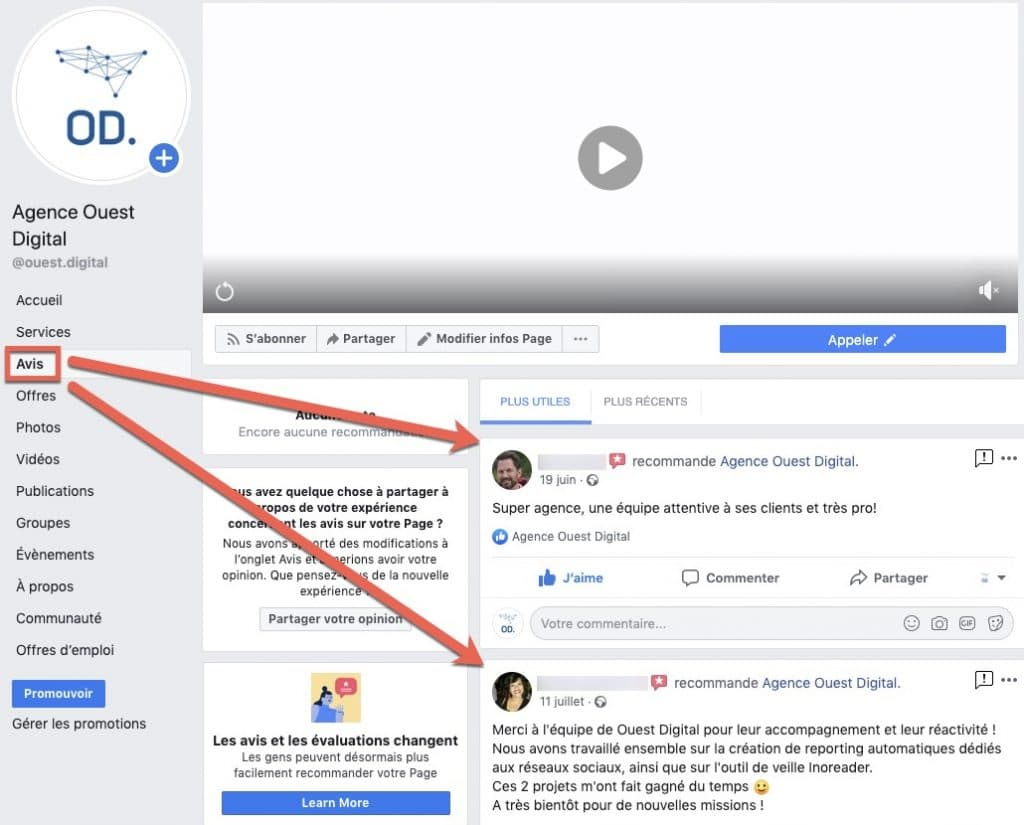 Exemple d'une page Facebook où les avis s'affichent dans le menu de gauche.