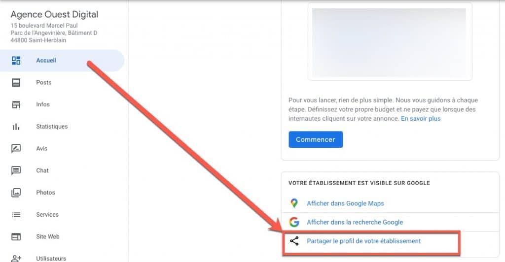 Partager le lien hypertexte d'un établissement Google My Business