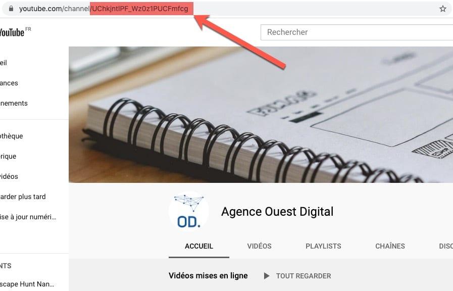 Exemple pour trouver l'identifiant (id) d'une chaîne Youtube