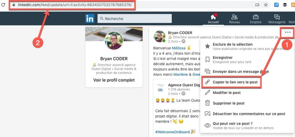 Comment l'URL d'un post sur Linkedin ?