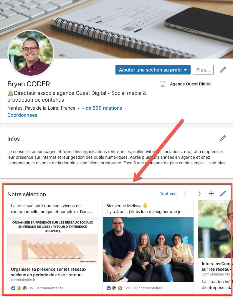 """Exemple d'éléments à ajouter à la section """"notre sélection"""" sur un profil Linkedin"""