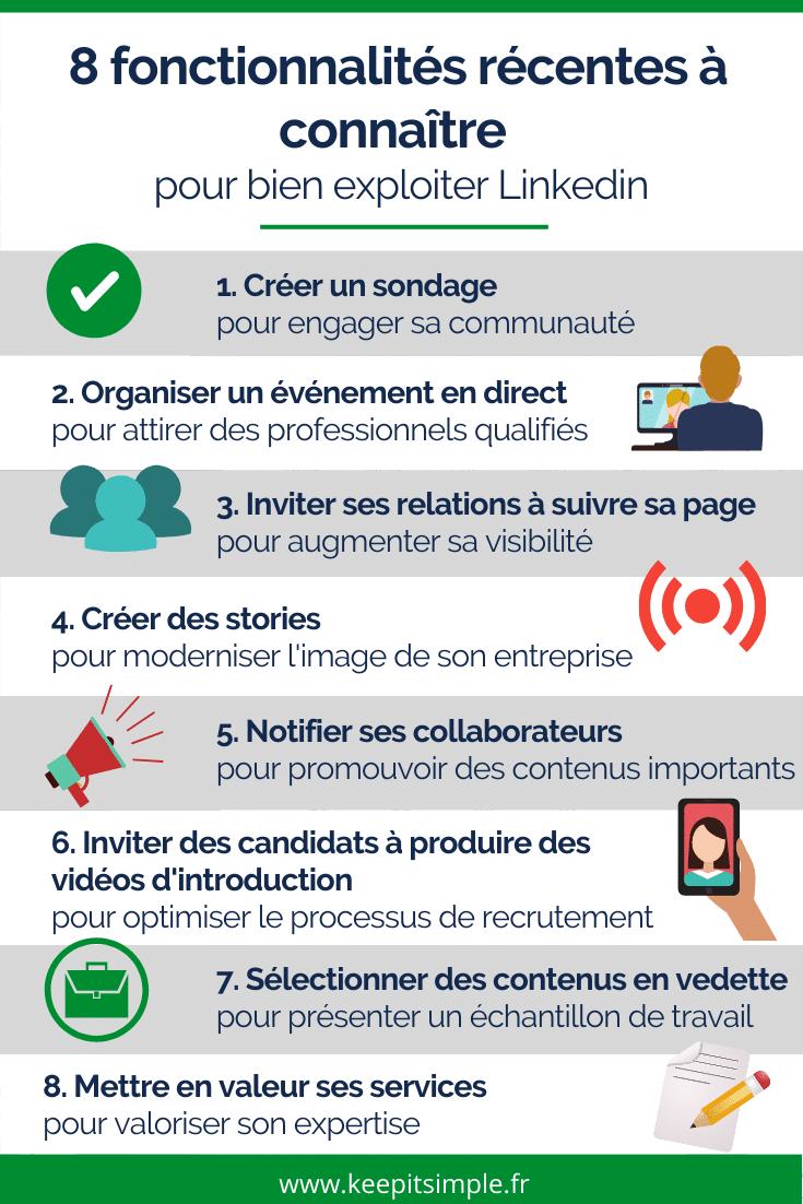Infographie - 8 nouvelles fonctionnalités à connaitre pour exploiter Linkedin - © Agence Ouest Digital