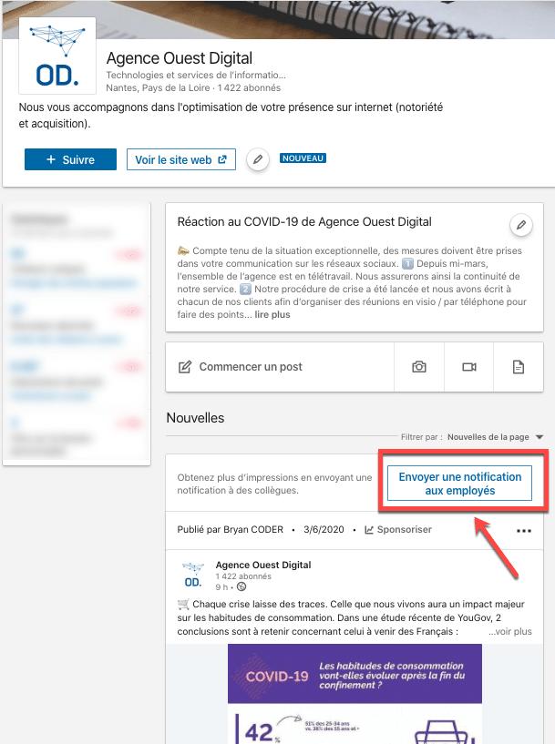 Exemple de la fonctionnalité pour envoyer une notification à vos employés sur une page Linkedin