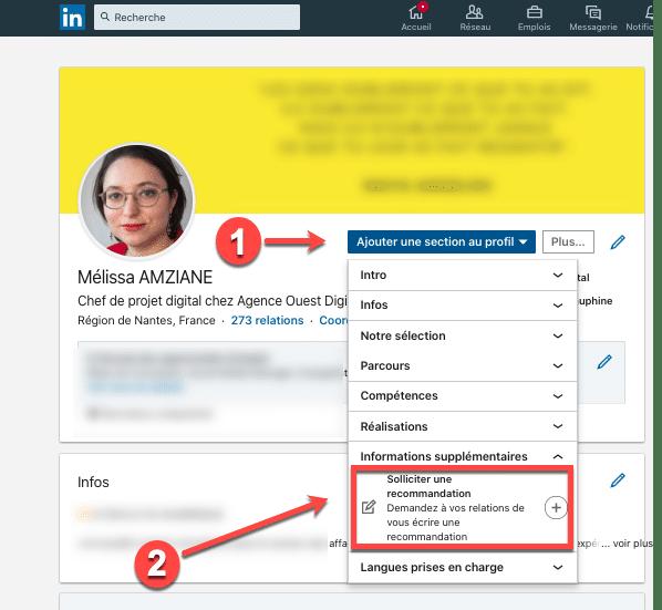 Processus pour demander une recommandation sur un profil Linkedin
