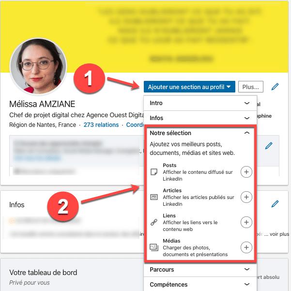 Voici le processus pour ajouter des éléments à votre section en vedette sur votre profil Linkedin
