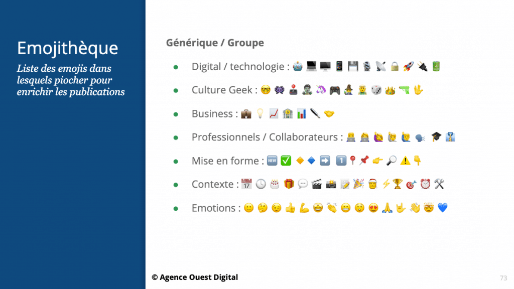 Exemple d'une « emojithèque » réalisé pour un client de l'agence (pour « bibliothèque d'emojis »). Inventé par l'équipe Ouest Digital
