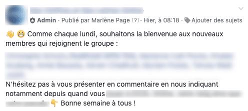 Exemple de message d'accueil hebdomadaire de membres dans un groupe Facebook