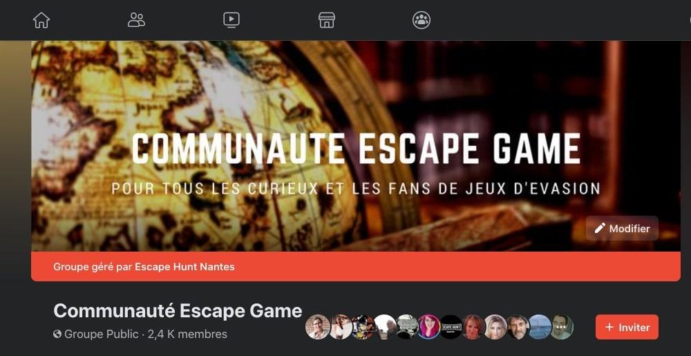 Exemple de groupe Facebook : communauté escape game