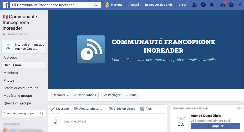 Exemple de groupe Facebook : Inoreader France