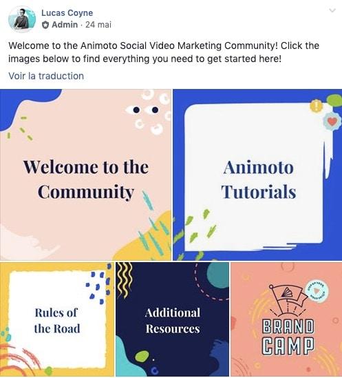 Exemple d'une publication épinglée dans un groupe Facebook