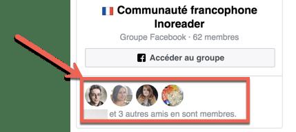 Aperçu du widget d'un groupe Facebook installé sur un site internet