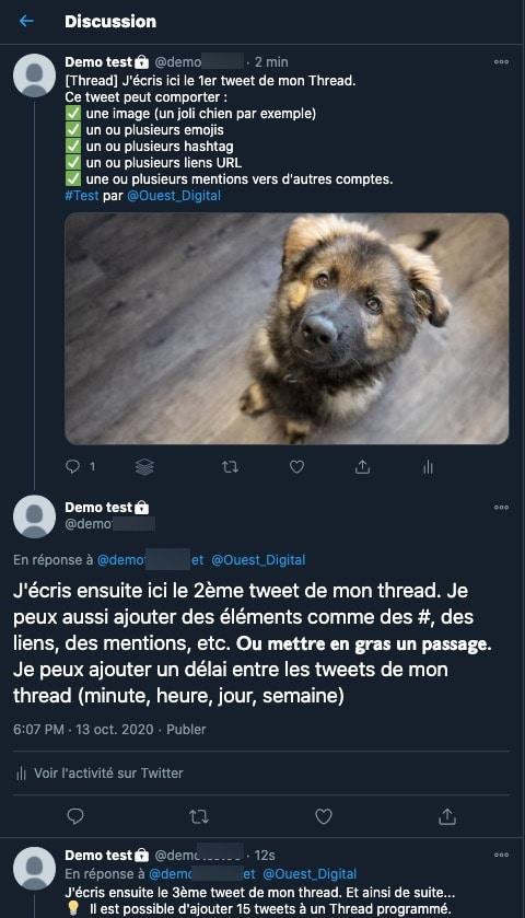 Un exemple de thread publié sur Twitter