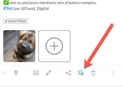 Accès aux follow-up comments sur Publer pour programmer un thread Twitter